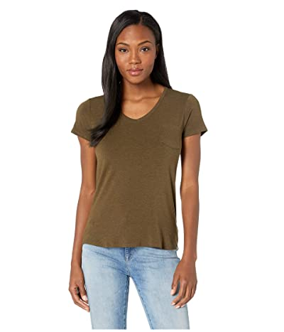 Prana Foundation Short Sleeve V-Neck Top (Slate Heather) Women