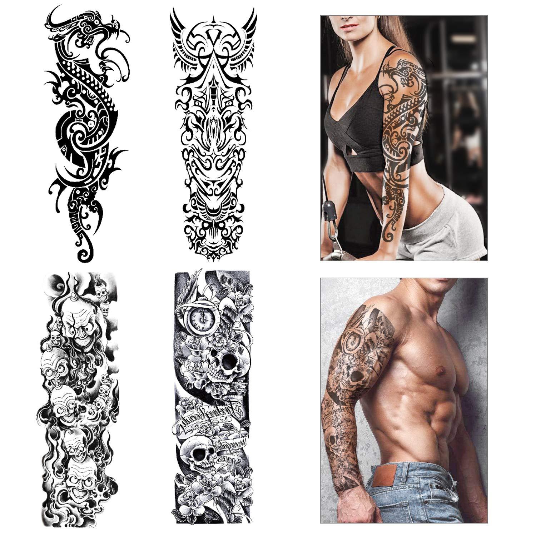 56d6cba8d Konsait Full Arm Temporary Tattoo for Men Women Adult (4 Sheets), Waterproof  Temporary Tattoo Arm Shoulder Tattoo Black Body Stickers Dragon and Skull