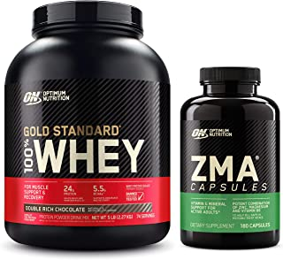 OPTIMUM NUTRITION ZMA, Zinc for Men and Women, Zinc and Magnesium Supplement & Gold Standard 100% Whey Protein Powder, Dou...