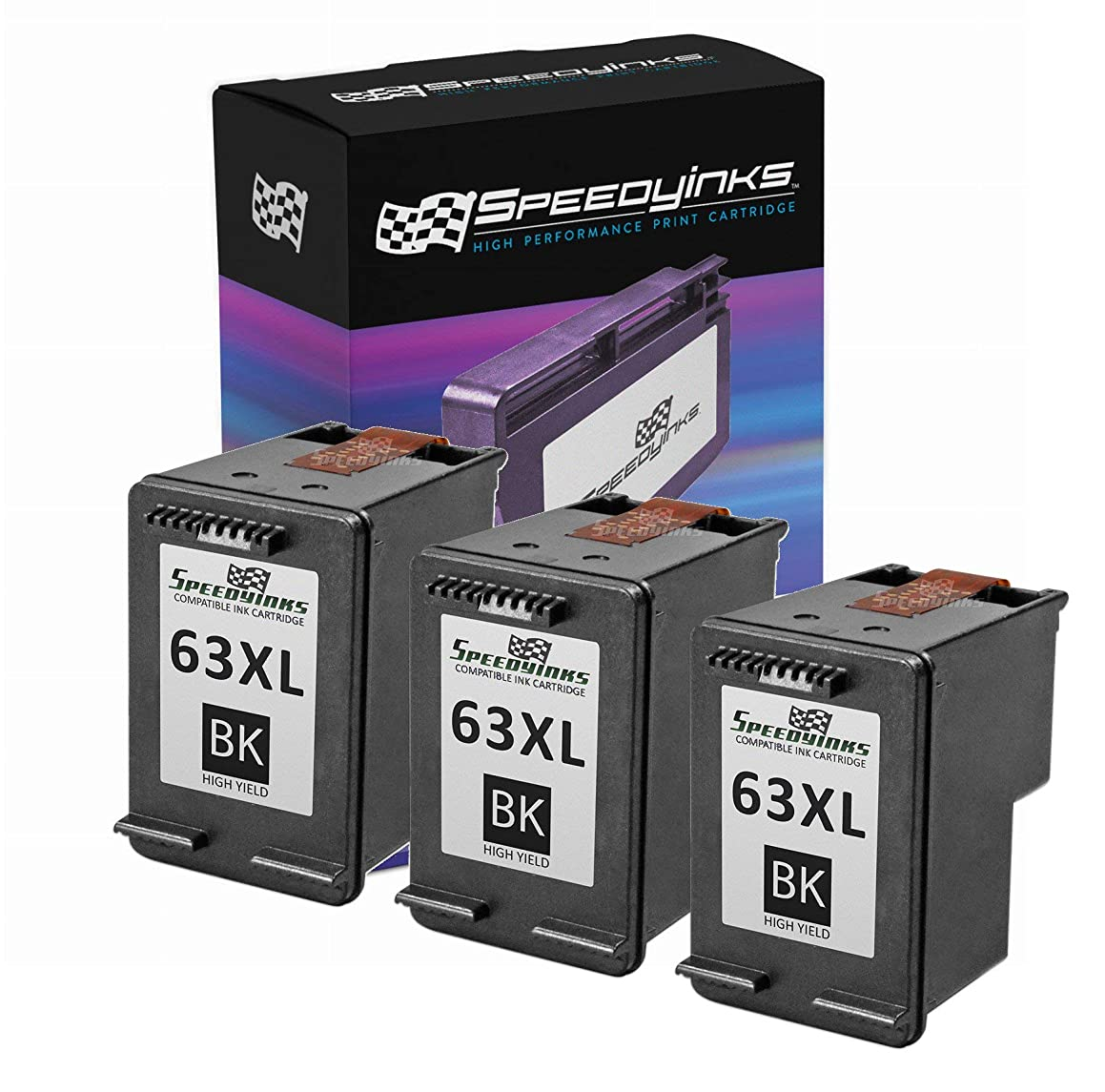 Speedy Inks Remanufactured Ink Cartridge Replacement for HP 63XL F6U64AN High Yield (Black, 3-Pack)