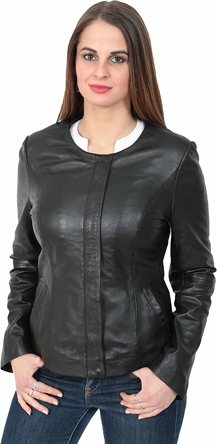 A1 FASHION GOODS Womens Black Leather Jacket Collarless Neckline Fitted Coat Gemma
