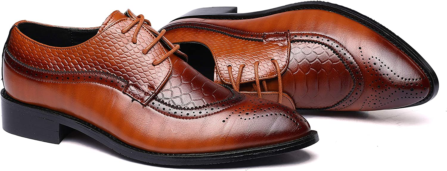 HYJ Mens Brogues Oxford Wingtip Genuine Leather Dress Shoes for Business Casual Lace-up