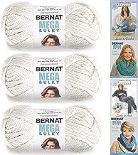 Bernat Mega Bulky Yarn 7.0 Ounce, 3 Pack Bundle, Jumbo #7 Acrylic (Aran)