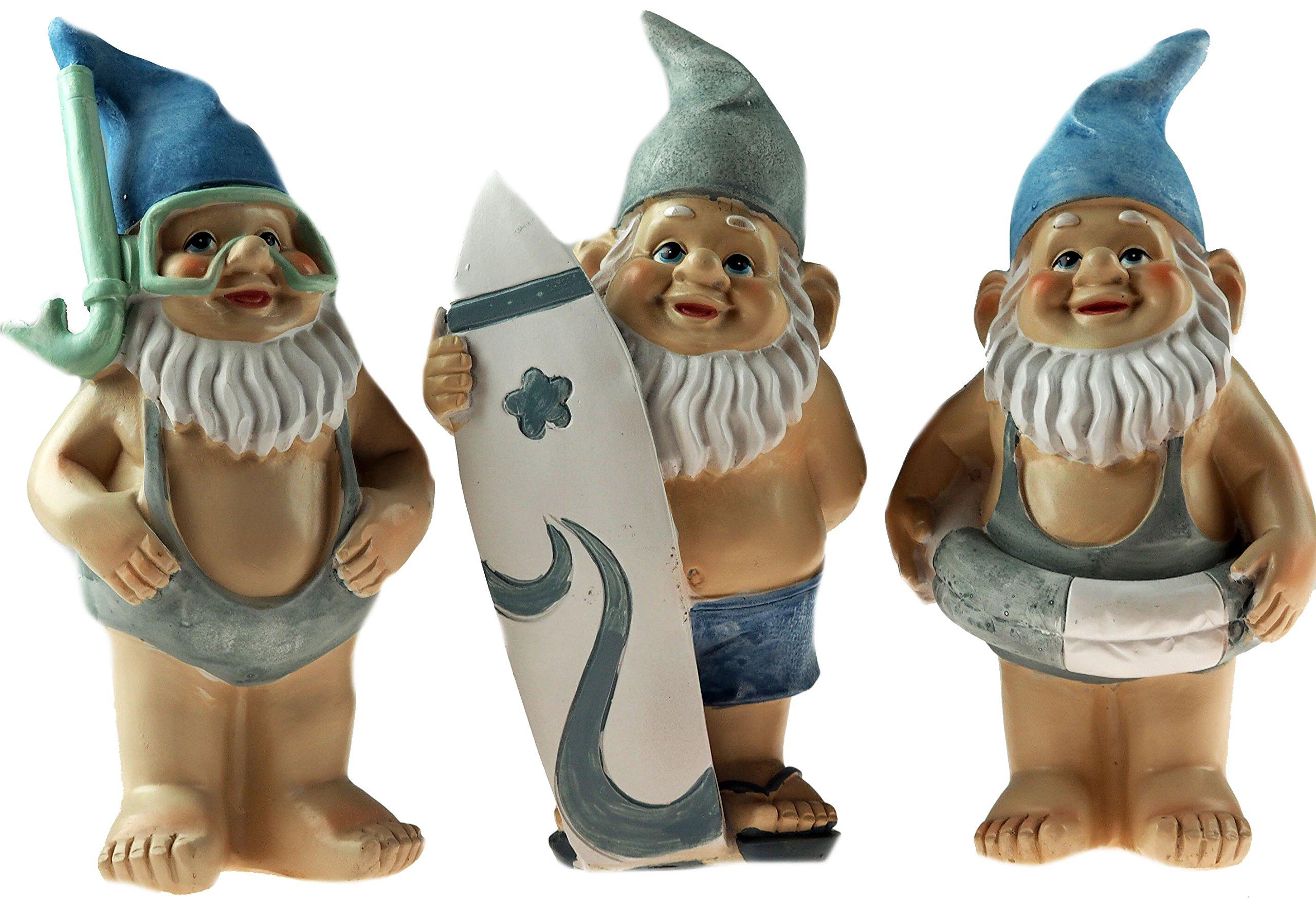 BWG Juego de 3 Figuras Decorativas de gnomo de Jardín DE 18 cm, Color Azul – Mankini, Surf, Anillo: Amazon.es: Hogar