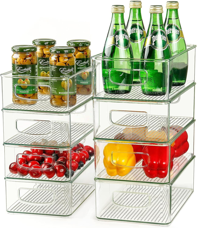 Set of 8 Refrigerator Organizer Bins, 4 Large and 4 Medium Stackable Plastic Fridge Organizers with Handles for Freezer, Kitchen, Cabinet, Pantry Food Storage Rack, BPA Free