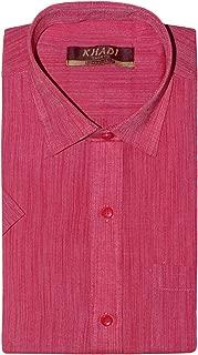 PRAKASAM COTTON Mens Regular Fit Half Sleeve Khadi Shirt (Khadi-Pink-1420-Half Sleeve)