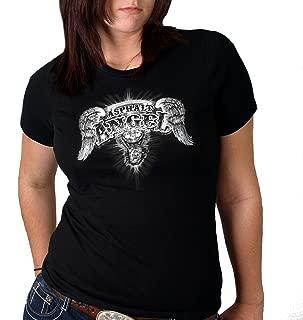 Hot Leathers Asphalt Angel Ladies Short Sleeve Biker Tee (Black, X-Large)
