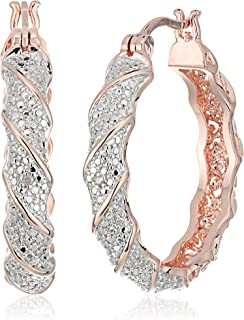 18k Rose Gold Plated Two Tone Diamond Accent and Illusion Hoop Earrings
