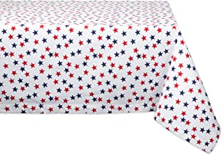DII CAMZ11196 Rectangular Cotton Tablecloth for Independence Day, July 4th Party, Summer BBQ and Outdoor Picnics, 60x84, Americana Stars