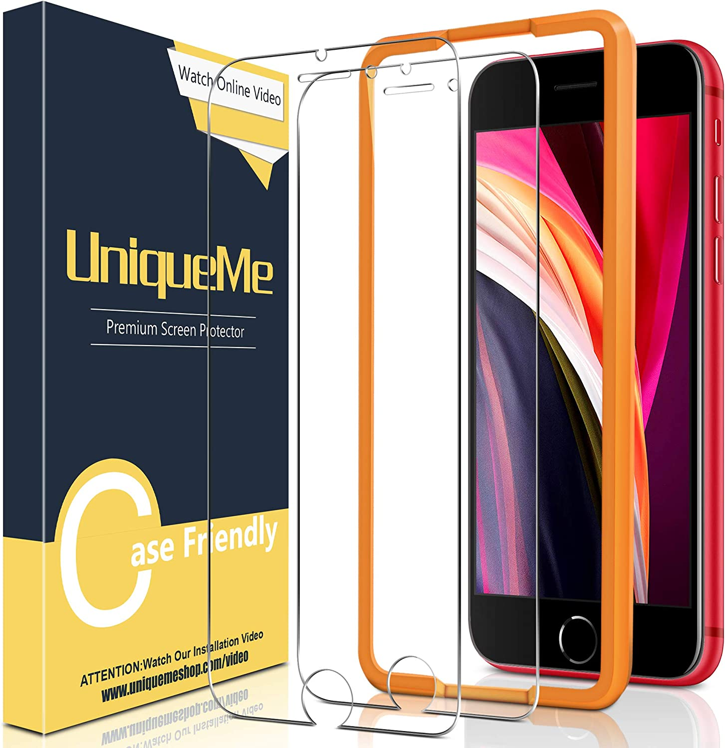 [2 Pack] UniqueMe Screen Protector for iPhone SE 2020 / iPhone SE2 Tempered Glass, [Easy Installation] HD Clear [Anti-Scratch] [Bubble Free]