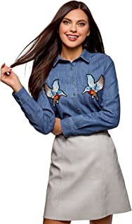 oodji Ultra Women's Denim Shirt with Patches