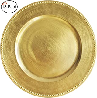 Tiger Chef Gold Charger Plates, Round Chargers, Set of 12 Metallic Charger Placemats with Beaded Rim 13-inch (12-Pack)