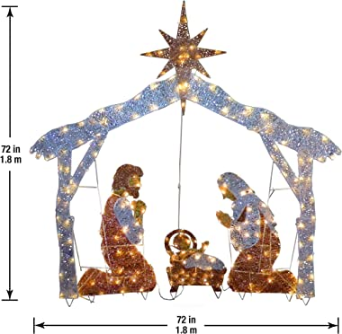 National Tree Company lit Artificial Christmas Décor Includes Pre-Strung Mini White Lights and Ground Stakes Crystal Holy Fam