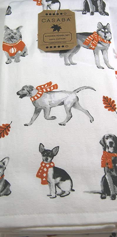 Set Of 2 Coordinating Decorative Ultra Absorbent Kitchen Towels Assorted Dogs Dressed For Autumn Dog Paws 100 Cotton 18 X 28