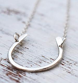 Collana a ferro di cavallo in argento sterling Charm a ferro di cavallo fortunato Lunghezza delicata 41 cm / 16 pollici + ...