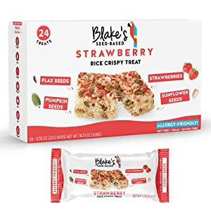 Blake's Seed Based Rice Crispy Treats – Strawberry (24 Count), Nut Free, Gluten Free, Dairy Free & Vegan, Healthy Snacks for Kids or Adults, School Safe, Low Calorie Organic Soy Free Snack
