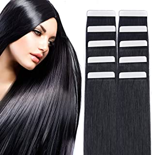 "14"" Tape in Hair Extensions Remy Human Hair Seamless Glue in Tape Hair Extension 20pc 40g/pack Off Black #1B …"