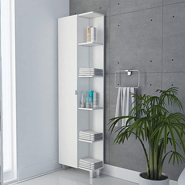 TUHOME Urano Storage Cabinet Linen Cabinet Bathroom Cabinet With 5 Open External Storage Shelves And 1 Cabinet W 3 Adjustable Shelves