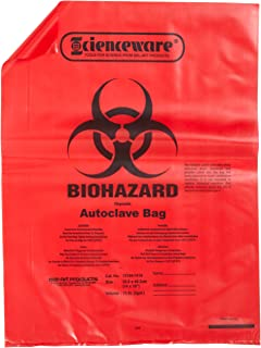 Bel-Art F13164-1419 Polypropylene 2-4 Gallon Red Biohazard Disposal Bags with Warning Label/Sterilization Indicator, 14W x 19 in. H, 1.5mil Thick (Pack of 200)