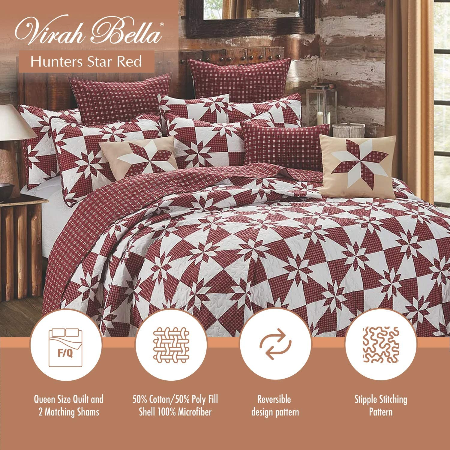 Virah Bella Collection Meghann McGivney Hunters Star Navy Polyester Full//Queen Printed Quilt Bedding Set with 2 Standard Shams