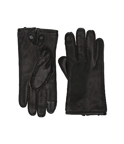 AllSaints Snap Deerskin Leather Gloves (Black) Extreme Cold Weather Gloves
