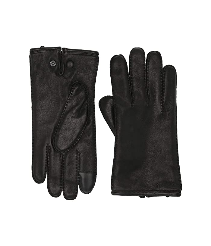 AllSaints  Snap Deerskin Leather Gloves (Black) Extreme Cold Weather Gloves