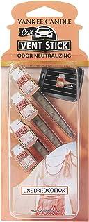 YANKEE CANDLE ヤンキーキャンドル カーフレグランススティック(4本入り) ラインドライドコットン (車のエアコン用芳香剤)