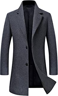 Men's Trench Coat Wool Blend Slim Fit Jacket Single Breasted Business Top Coat FSSSTF