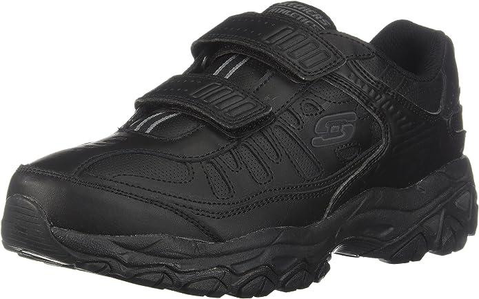 Skechers Men's AFTERBURNM.FIT-FI Strike Memory Foam Velcro Sneaker, White/Navy, 8.5 M US