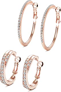 Jstyle 2Pairs Fashion Hoop Earrings For Women Girls White Gold Plated Big Hoop Earrings Cubic Zirconia Earring Set Rose Gold