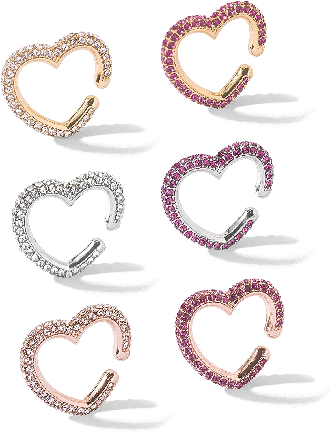 6Pcs Set Colorful Crystal Ear New popularity Clip Non-Piercing Hoop On Earrings Over item handling