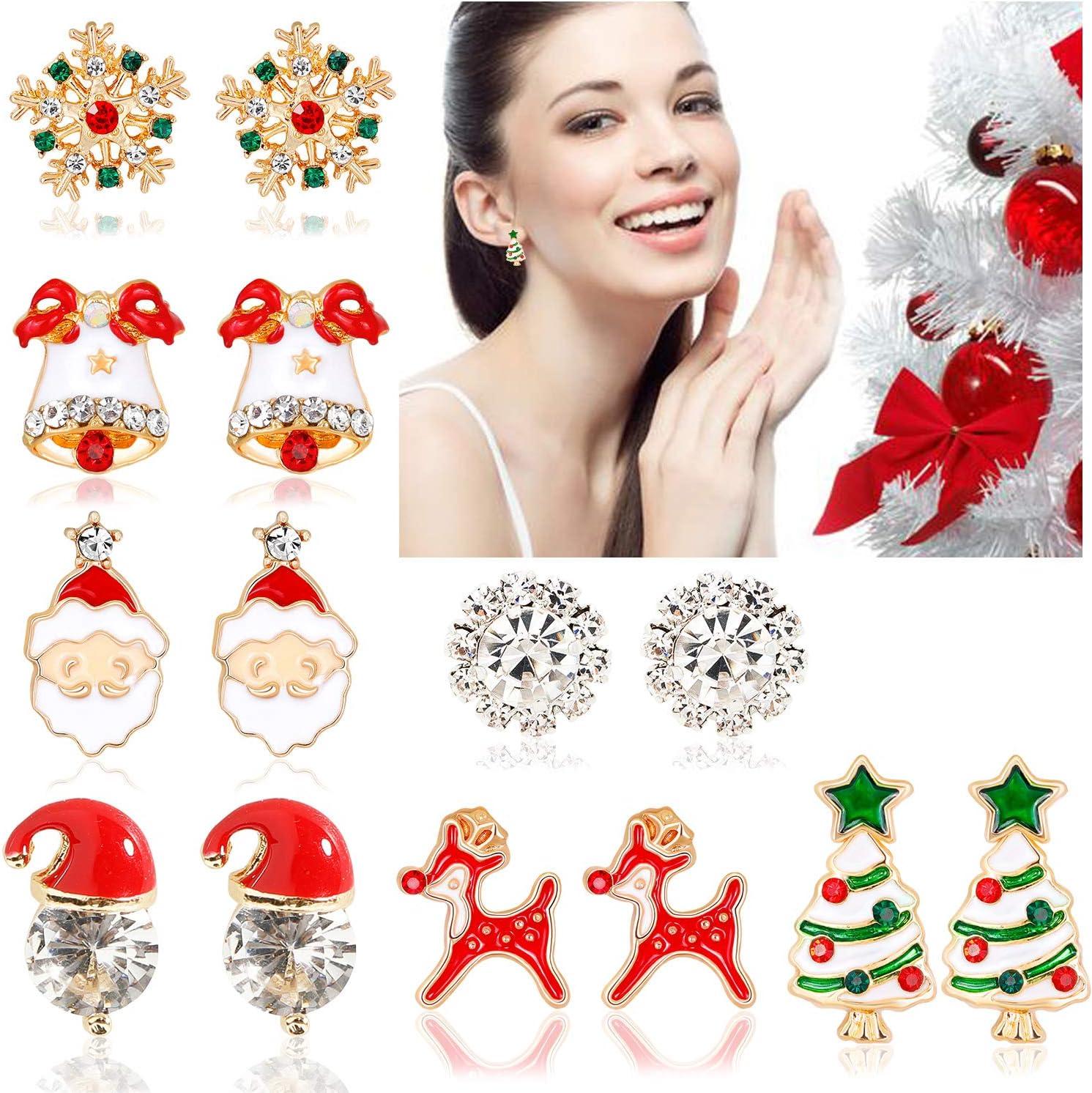 Konsait 7 Pairs Christmas Earrings Studs for Women, Xmas Earrings for Girls Christmas Tree Santa Hat Reindeer Snowflake Jingle Bell Earrings Studs for Christmas Party Decoration