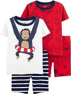 Carter's Toddler Boy's 4 Pc Monkey Pajama Cotton Set PJs (3T)