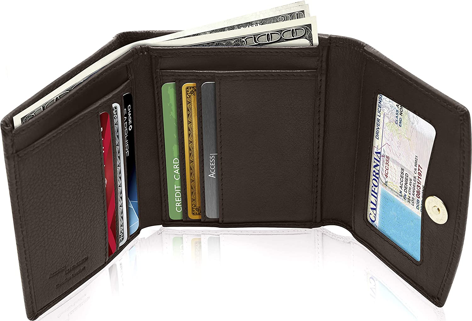 Small Leather Trifold Wallets For Women  Womens Wallet RFID Card Holder Coin Pocket Gifts For Women