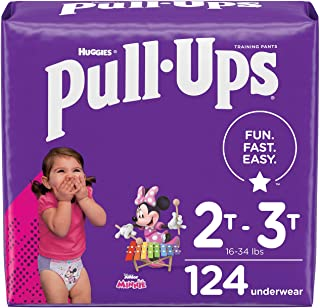 Pull-Ups Girls' Potty Training Pants Training Underwear Size 4, 2T-3T, 124 Ct, One Month Supply