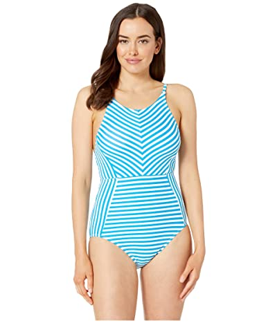 Tommy Bahama Palm Party High Neck One-Piece (White) Women