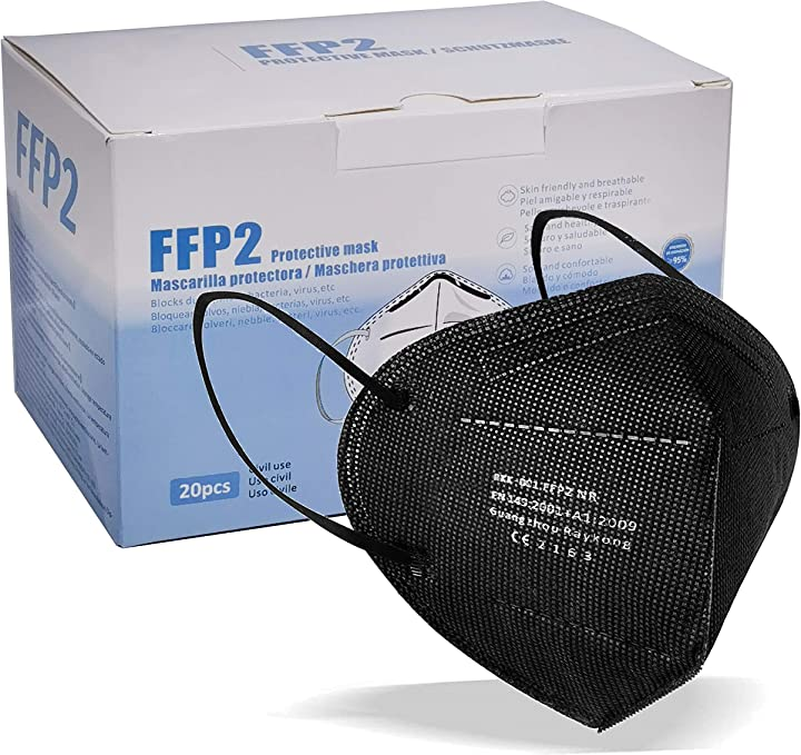 Mascherine nera  ffp2 20pz certificate ce mascherina a 5 strati maschera di protezione respiratoria B08TRPP18G