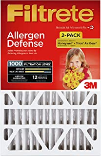Filtrete ADP03-2PK-2 08189005996 MPR 1000 20 x 25 x 4 (4-3/8 Actual Depth) Micro Allergen Defense Deep Pleat HVAC Air Filter, Uncompromised Airflow, 2-Pack, 2