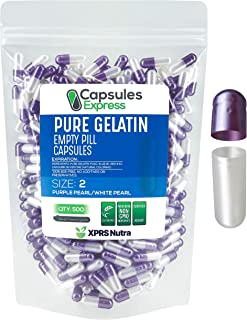 XPRS Nutra Size 2 Empty Capsules - Pearl Purple and White Colored Empty Gelatin Capsules - Capsules Express Empty Pill Cap...