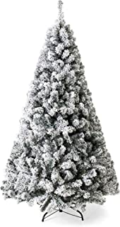 Best Choice Products 9ft Snow Flocked Hinged Artificial Pine Christmas Tree Holiday Decoration w/Metal Stand