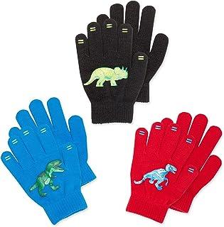 Magic Stretch Winter Gloves for Boys, Kids & Children - 3 Pack Dino, Camo, Trucks