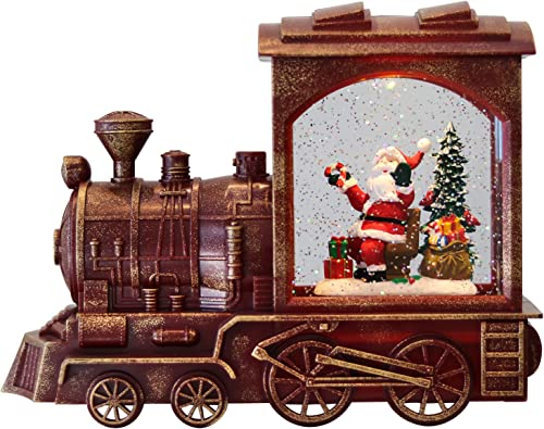 high quality Eldnacele high quality Singing Christmas Train Snow Globe with Music & Timer, Lighted-up Battery Operated Glittering Lantern popular for Christmas Table Centerpiece Decoration and Gift- Santa outlet sale