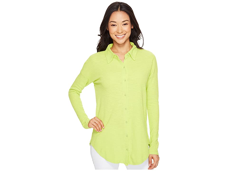 Mod-o-doc Textured Slub Stripe Back Crossover Button Front Shirt (Lime) Women