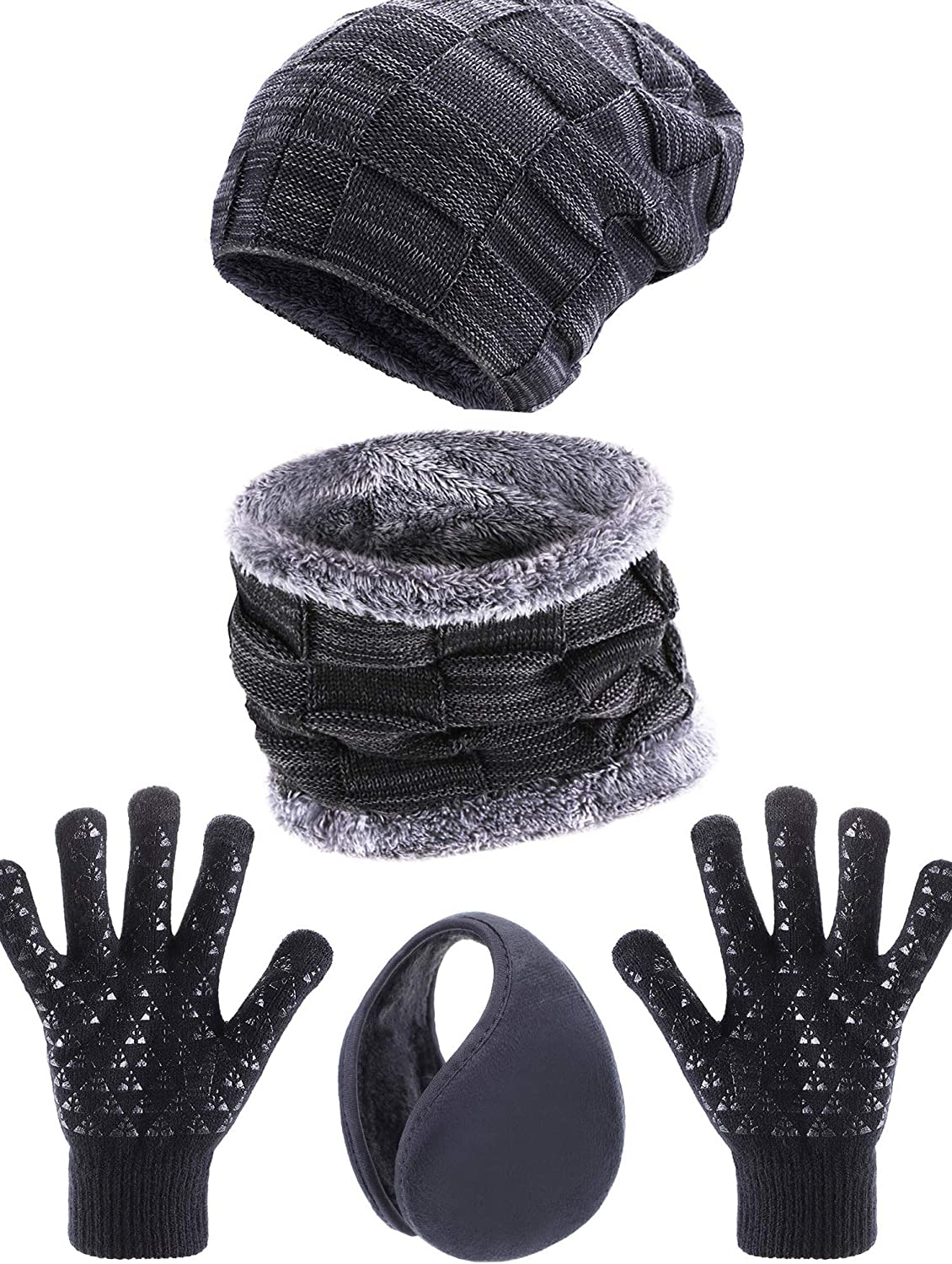 Cash special price Tatuo 4 Pieces Superior Ski Warm Set Cir Includes Beanie Lined Hat Fleece
