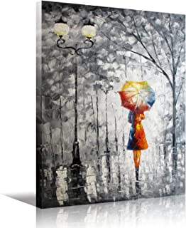 Eatco HD Art Wooden Framed Wall Art Oil Painting On Canvas lady under the umbrella Living Room Decor Stretched ready to Hang HD Prints on Canvas Art 24x32 inch(60x80cm) 1pc