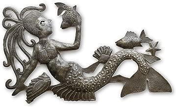 Talking with Fish, Mermaid, Artistic Haiti Metal Steel Drum Art 17 x 10 Inches