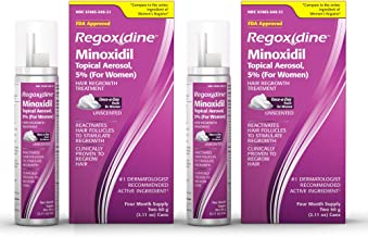 Regoxidine Women's 5% Minoxidil Foam Helps Restore Top of Scalp Hair Loss and Support Hair Regrowth with Unscented Topical...