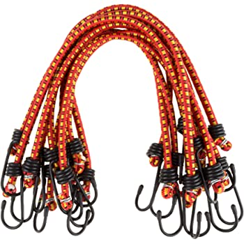 red XL-OCEAN//DAJIA 9mm bungee cords with 3.6mm steel hooks 18inchx10piece 9mmx45cm Industrial Bungee Cord 10pack