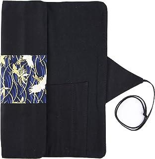 捺染・パッチワークシリーズ ・カンバス・キャンブリック製 紐巻き式書道筆ロールケース・30cm以内適用 (黒の鶴)