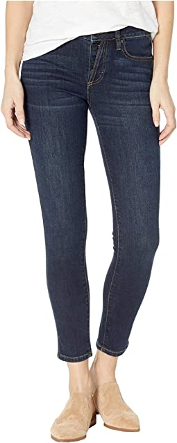 Button Up Skinny Jeans in Dark Blue